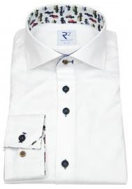 Hemd - Modern Fit - Haifischkragen - Kontrastknöpfe - weiß