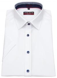 Kurzarmhemd - Body Fit - Patch - Kontrastknöpfe - weiß