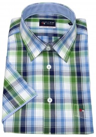 Kurzarmhemd - Regular Fit - kariert - grün / blau / weiß