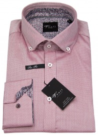 Hemd - Slim Fit - Button Down - Print - rot - ohne OVP