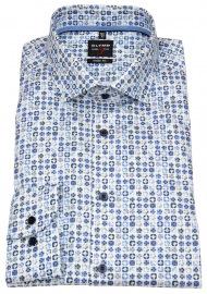 OLYMP Hemd - Level 5 Body Fit - Print - blau / weiß