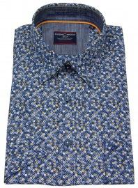 Kurzarmhemd - Comfort Fit - Print - blau
