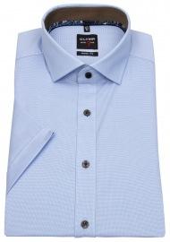 Kurzarmhemd - Level 5 - Kontrastknöpfe - hellblau / weiß