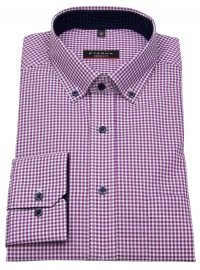 Hemd - Modern Fit - Button Down - Patch - lila / weiß