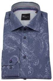 Hemd - Slim Fit - Print - blau