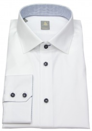 Hemd - Custom Fit - Kontrastknöpfe - weiß - langer Arm 69cm