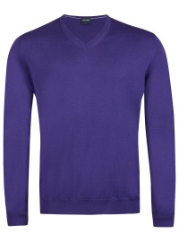 Pullover - Merinowolle - V-Ausschnitt - violett