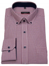 Hemd - Modern Fit - Button Down - rot / weiß