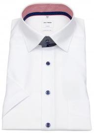Kurzarmhemd - Comfort Fit - Patch - Under Button Down - weiß