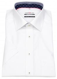 Kurzarmhemd - Comfort Fit - Patch - Kontrastgarn - weiß