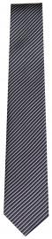 Seidenkrawatte - Slim - schwarz / grau - fein gestreift