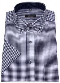 Kurzarmhemd - Comfort Fit - Button Down - blau / weiß