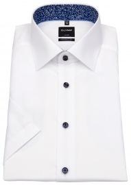 Kurzarmhemd - Modern Fit - Struktur - Kontrastknöpfe - weiß