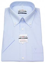 Kurzarmhemd - Button-Down Kragen - hellblau
