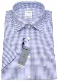 Halbarm Hemd - Comfort Fit - Gitterkaro blau