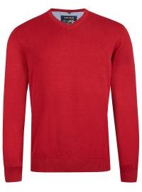 Pullover - V-Ausschnitt - rot