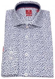 Hemd - Slim Fit - Haifischkragen - Print - dunkelblau / weiß