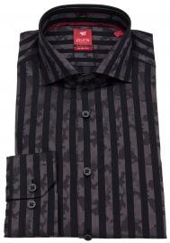 Hemd - Slim Fit - Print - Streifen - anthrazit / schwarz
