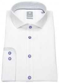 Hemd - Extra Slim - Haikragen - Kontrastknöpfe - weiß