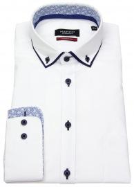 Hemd - Modern Fit - Patch - Button Down - weiß