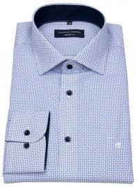 Hemd - Comfort Fit - Print - blau / weiß