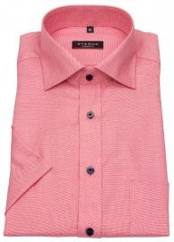 Kurzarmhemd - Modern Fit - feines Muster - rot / weiß
