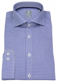 Hemd - Extra Slim - Haikragen - Print - blau