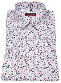Hemd - Body Fit - Print - dunkelblau / rot / weiß