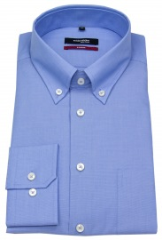 Hemd - Modern Fit - Button-Down Kragen - Fil-a-Fil - blau