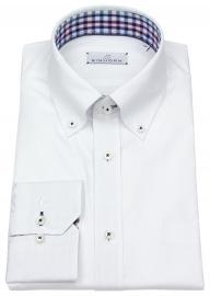 Hemd - Modern Fit - Button Down - Kontrastgarn - weiß