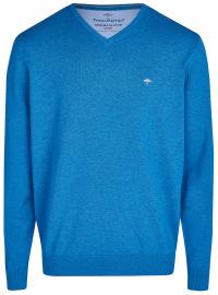 Pullover - Casual Fit - V-Ausschnitt - blau