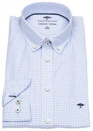 Hemd - Casual Fit - Button Down - Gitterkaro - blau / weiß