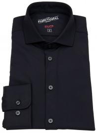Pure Hemd - Slim Fit - Functional Shirt - Haifischkragen - schwarz
