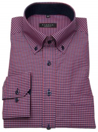 Hemd - Comfort Fit - Button Down - rot / blau