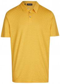MAERZ Muenchen Poloshirt - Modern Fit - Baumwolle / Leinen - gelb