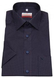 Kurzarmhemd - Modern Fit - Print - dunkelblau / weiß / rot