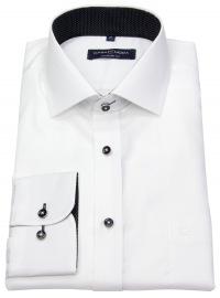 Hemd - Comfort Fit - Struktur - Kontrastknöpfe - weiß