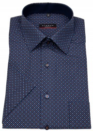 Kurzarmhemd - Modern Fit - Print - dunkelblau