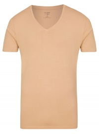 Level Five Body Fit - T-Shirt - V-Ausschnitt - caramel