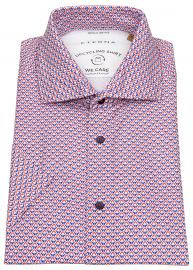 Eterna Kurzarmhemd - Regular Fit - Button Down - We Care - rot / blau