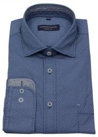Hemd - Casual Fit - Print - blau / weiß