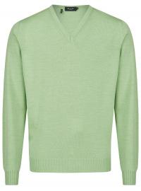 Pullover - Comfort Fit - V-Ausschnitt - Merinowolle - hellgrün