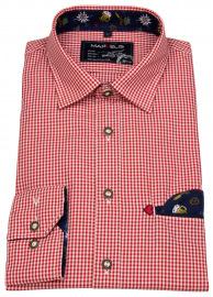 Trachtenhemd - Casual Fit - rot / weiß kariert