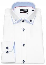 Hemd - Modern Fit - unterlegter Button Down - weiß