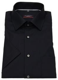 Kurzarmhemd - Modern Fit - Kontrastknöpfe - schwarz