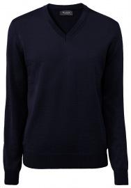 Pullover - Comfort Fit - V-Ausschnitt - Merinowolle - navy