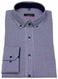 Hemd - Modern Fit - Button Down - dunkelblau / weiß