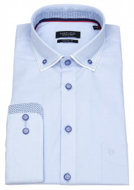 Hemd - Regular Fit - Patch - Button Down - hellblau