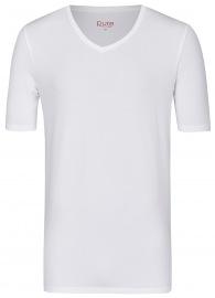 T-Shirt - Slim Fit - V-Ausschnitt - weiß