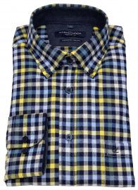 Casa Moda Flanellhemd - Comfort Fit - Button Down - kariert - blau / gelb